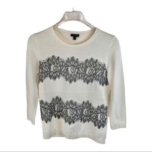 Talbots Ivory & Black Lace Pullover Sweater